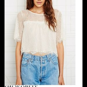 Urban Outfitters lace flutter crop top ivory